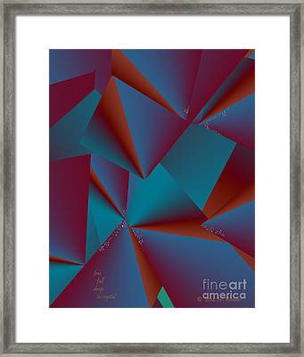 Framed Print featuring the digital art Inw_20a6146 Free Fall Drop To Crystal by Kateri Starczewski