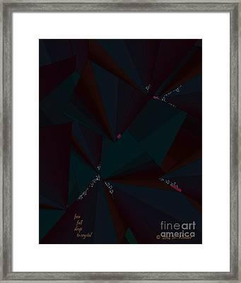 Framed Print featuring the digital art Inw_20a6148 Free Fall Drop To Crystal by Kateri Starczewski