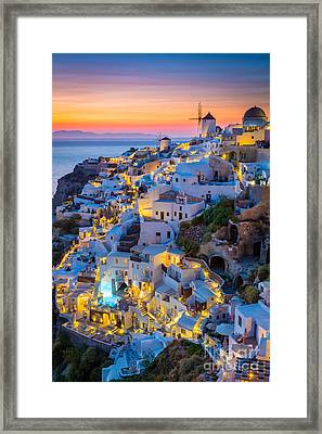 Oia Sunset Framed Print by Inge Johnsson