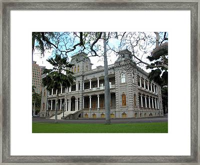 Framed Print featuring the photograph Iolani Palace, Honolulu, Hawaii by Mark Czerniec