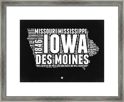 Iowa Black And White Map Framed Print