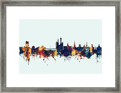 Framed Print featuring the digital art Iowa City Iowa Skyline by Michael Tompsett