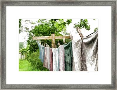 Iowa Farm Laundry Day  Framed Print by Wilma Birdwell