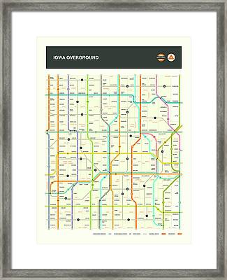 Iowa Highway Map Framed Print