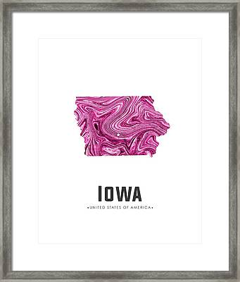 Iowa Map Art Abstract In Purple Framed Print