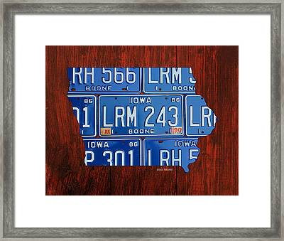 Iowa State License Plate Map Art Framed Print by Design Turnpike