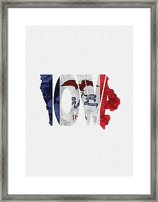 Iowa Typographic Map Flag Framed Print