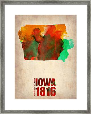 Iowa Watercolor Map Framed Print by Naxart Studio