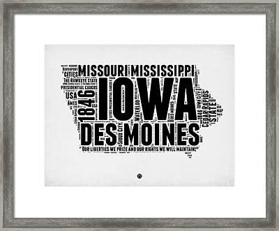 Iowa Word Cloud 2 Framed Print by Naxart Studio