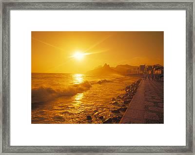 Ipanema Beach In Rio De Janeiro Brazil Framed Print