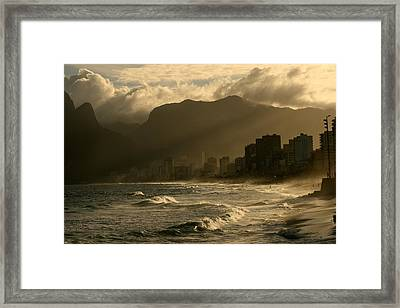Ipanema Sunset Framed Print by Miranda  Miranda