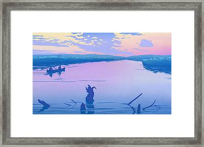 iPhone - Galaxy Case - Canoeing The River Back To Camp At Sunset Landscape Abstract  Framed Print by Walt Curlee