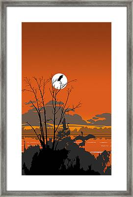 iPhone - Galaxy Case - Tropical Birds Orange Sunset Abstract Framed Print