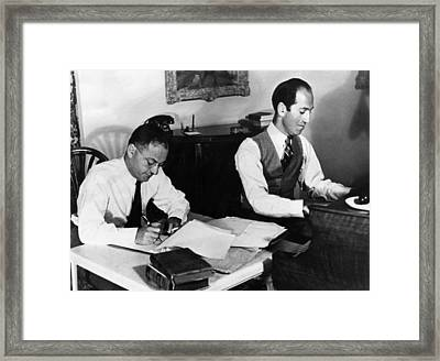 Ira And George Gershwin At Work Framed Print by Everett