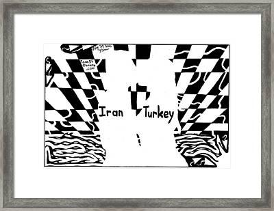 Iran And Turkey Kissing At Sunset By Yonatan Frimer Framed Print by Yonatan Frimer Maze Artist