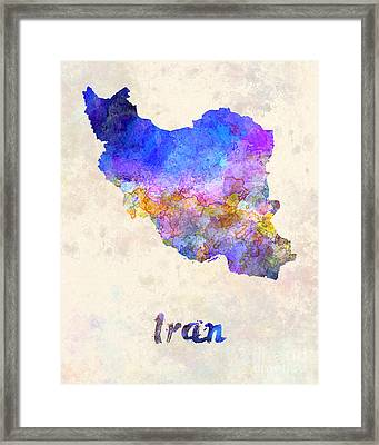 Iran In Watercolor Framed Print by Pablo Romero