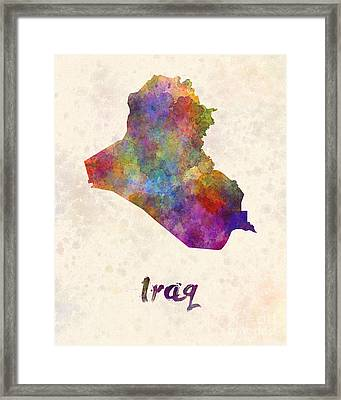 Iraq In Watercolor Framed Print