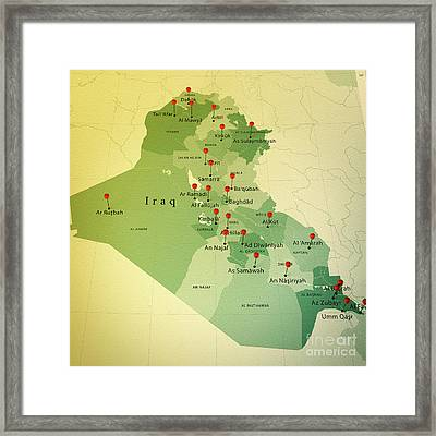 Iraq Map Square Cities Straight Pin Vintage Framed Print