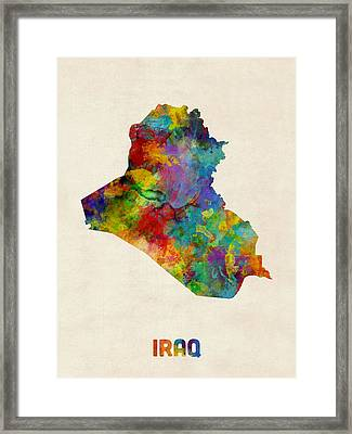 Iraq Watercolor Map Framed Print