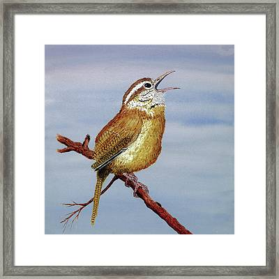 Framed Print featuring the painting Irate Wren by Thom Glace