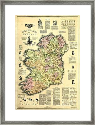 Ireland 1893 Map Framed Print by Jon Neidert