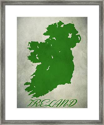 Ireland Grunge Map Framed Print by Dan Sproul