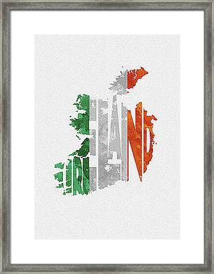 Ireland Typographic Map Flag Framed Print