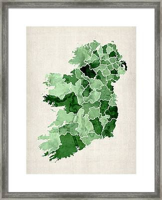 Ireland Watercolor Map Framed Print by Michael Tompsett