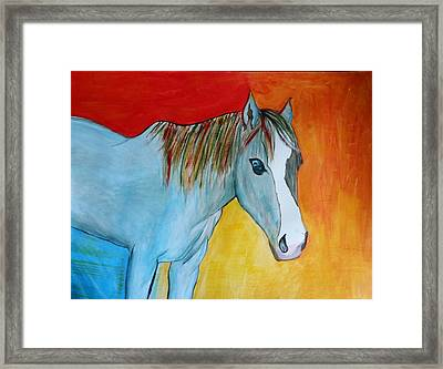 Framed Print featuring the painting Iridescent Blue by Carol Duarte