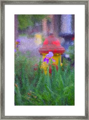Iris And Fire Plug Framed Print by David Lane