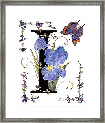 Iris And Indian Leaf Butterfly - Stolen Framed Print by Stanza Widen