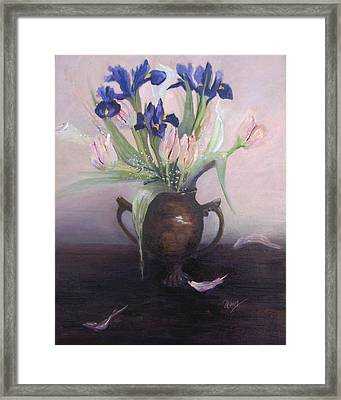 Iris And Tulips Framed Print by Marcy Silverstein