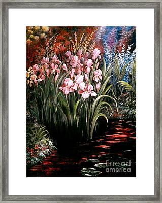 Iris By The Pond Framed Print