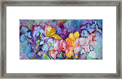 Iris Field, Oil Spring Flowers, Floral Painting Framed Print by Soos Roxana Gabriela