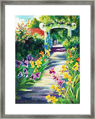 Iris Garden Walkway   Framed Print by Kathy Braud