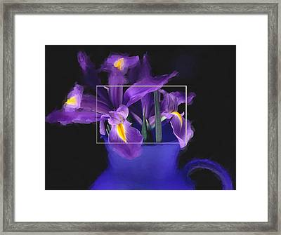 Iris In Blue Picture Framed Print by Daniel D Miller