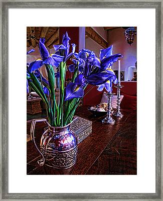 Iris In Silver Pitcher Framed Print