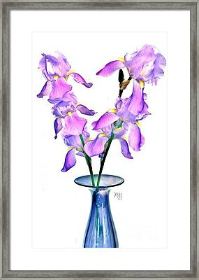 Iris Still Life In A Vase Framed Print by Marsha Heiken