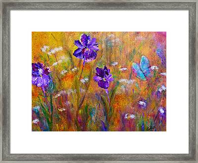 Iris Wildflowers And Butterfly Framed Print