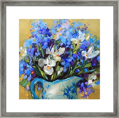 Irises And Blue Glass Framed Print