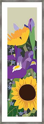 Irises And Sunflowers Framed Print by Marian Federspiel