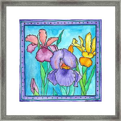 Irises Framed Print by Pamela  Corwin