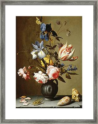 Irises, Roses, Columbine, Hyacinth And A Tulip In A Black Pottery Pitcher Framed Print