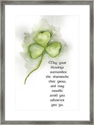 Irish Blessing Framed Print by Nancy Ingersoll