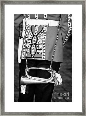 irish guards guardsman in full dress uniform with bugle Northern Ireland Framed Print by Joe Fox