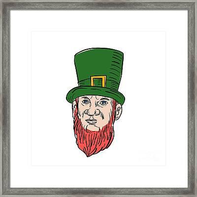 Irish Leprechaun Wearing Top Hat Drawing Framed Print