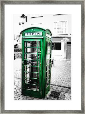 Irish Phone Booth In  Kinsale Framed Print by George Oze