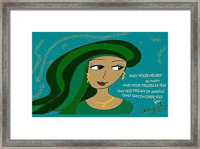 Irish Poem - May Your Heart Be Happy Framed Print by Sharon Augustin