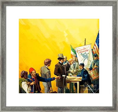 Irish Recruitment For The American Civil War Framed Print by Severino Baraldi