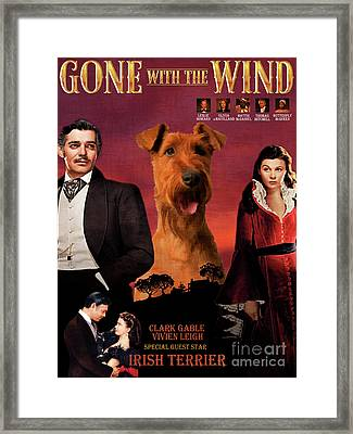 Irish Terrier Art Canvas Print - Gone To The Wind Movie Poster Framed Print